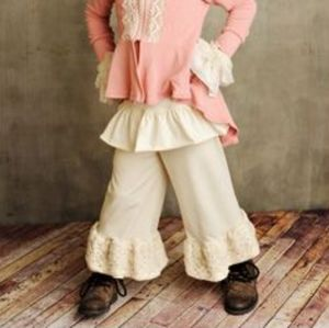 Persnickety cream ruffle bell pants